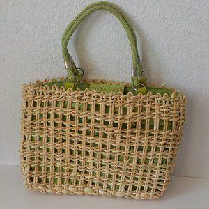 Vintage Green Basket Weave Purse Beach Weekend Bag